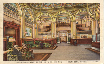 Oliver Hotel Lobby South Bend Indiana 1935 Courtesy Of The Mishawaka Penn Harris Public Library